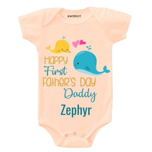 Knitroot Happy Father's day Infant Romper 3-6 Months Peach