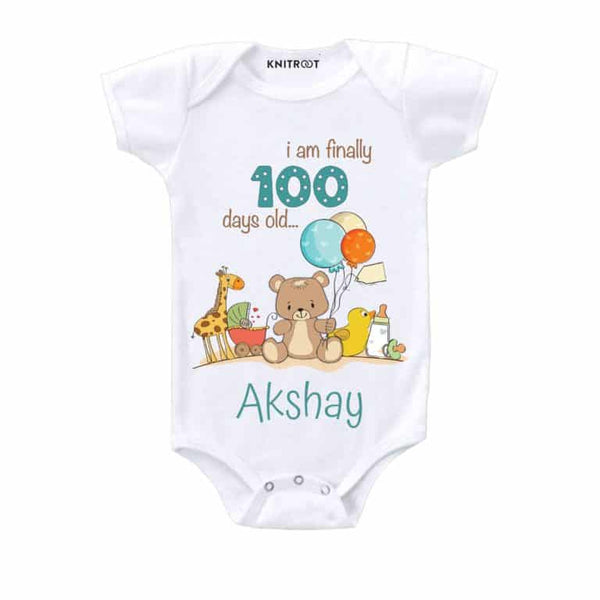 I Am Finally 100 Days Old… Baby Wear-6 - Personalised Baby Onesie