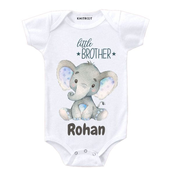 Little Brother Elephant Print | Personalised Baby Onesie
