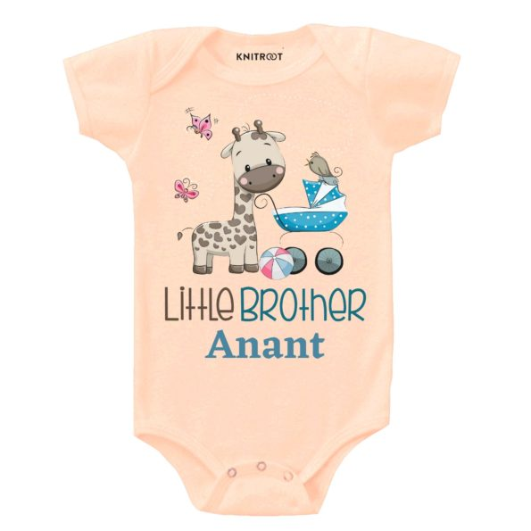 Little Brother Giraffe Print | Personalised Baby Onesie