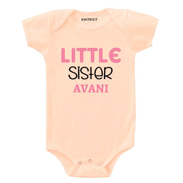 Little sister Pink & Black | Personalised Baby Onesie