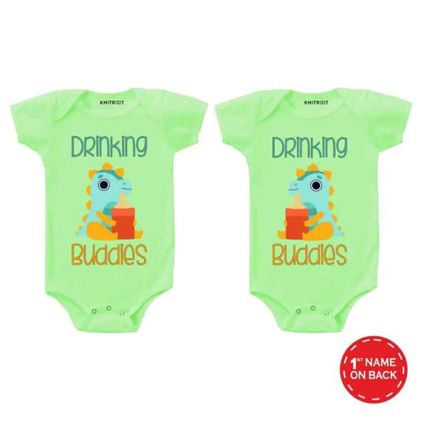 Drinking and buddles baby green romper | Personalised Baby Onesie