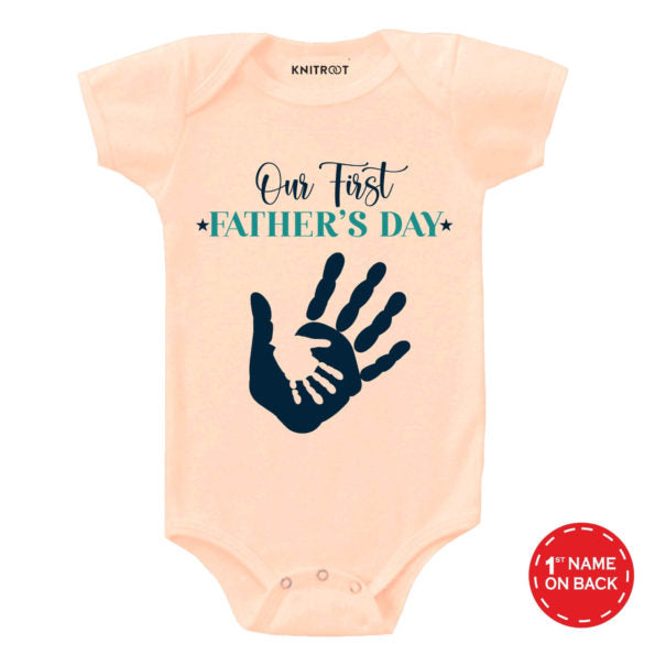 Our First Father's Day – Hand in Hand design | Personalised Baby Onesie