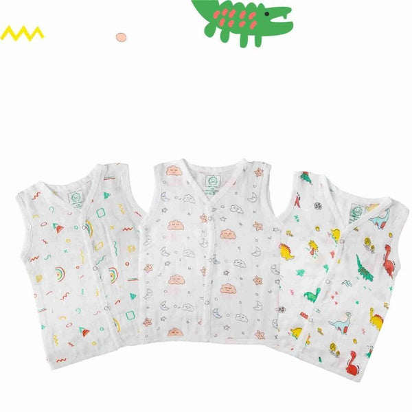 A Toddler Thing 100% Cotton printed sleeveless Jhablas set of 3