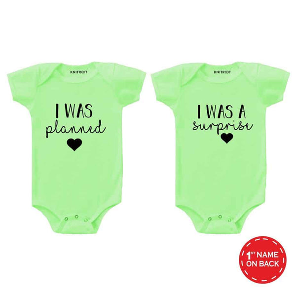 Planned & Surprise Twins Special green color baby romper | Personalised Baby Onesie
