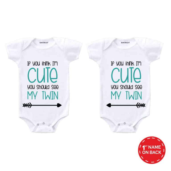 Twin Cute Baby Outfit | Personalised Baby Onesie