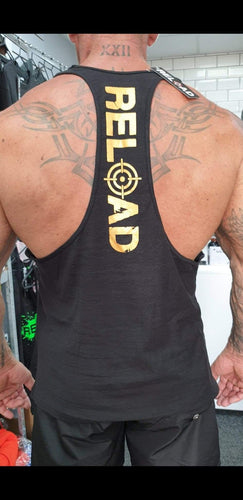 'Special Edition' Black & Gold Reload Stringer Vest WAS £12.50 NOW £7.50