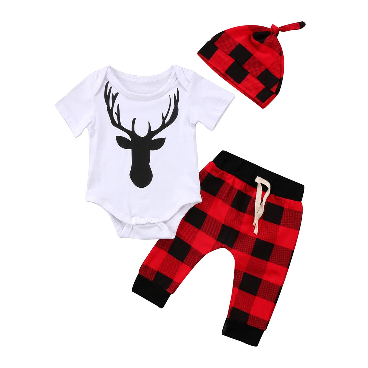4f5472948 Deer Christmas Newborn Baby Boy Girls Romper Top+Plaid Pants Outfits Xmas  Baby Clothing