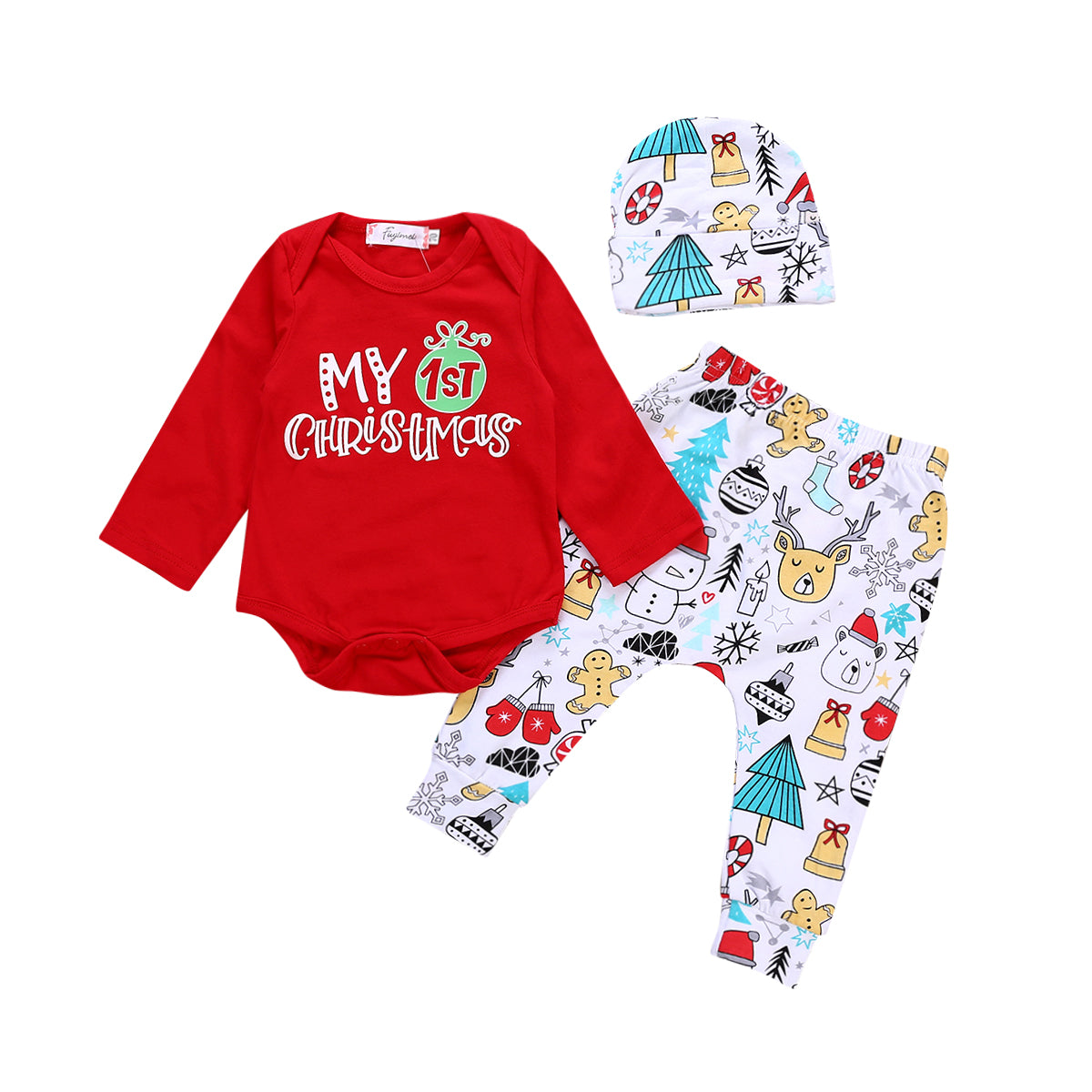 Christmas Tops.Toddler Baby Boys Girls Christmas Tops Romper Deer Pants Hat Outfits