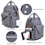 Alameda Diaper Bag Backpack - Shining Reflective Design, Grey