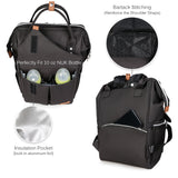 Alameda Diaper Bag Backpack - Shining Reflective Design, Black