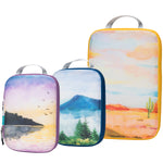 Packing Cube Set of 3 for Travel, Compression Bags Organizer for Luggage / Backpack, Painting