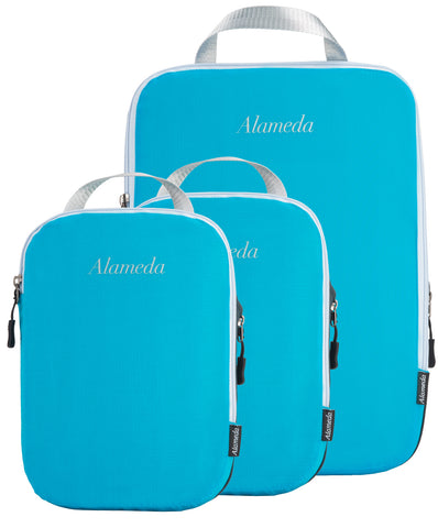 Packing Cube Set of 3 for Travel, Compression Bags Organizer for Luggage / Backpack, Sea Blue