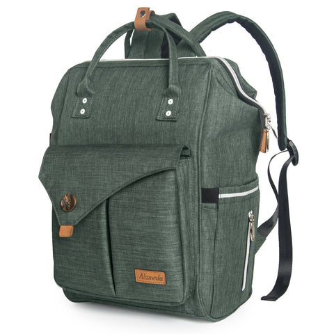 Alameda Diaper Bag Backpack - Shining Reflective Design, Green