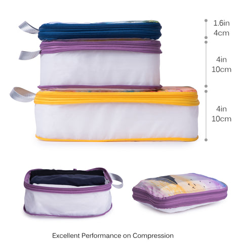 Packing Cube Set of 3 for Travel, Compression Bags Organizer for Luggage / Backpack