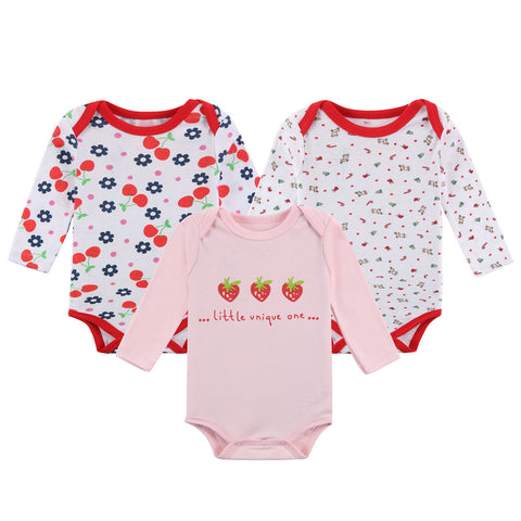 Mother Nest Baby Girls' 3-Pack Long-Sleeve Bodysuit
