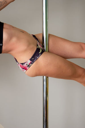 Low waist floral print micro shorts for pole dance with a cheeky brazil scrunch back