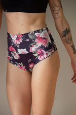 High waist floral print shorts for pole dance with a cheeky brazil scrunch back