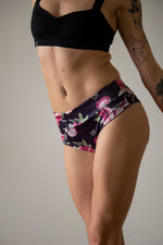 High waist floral print shorts for pole dance with a cheeky brazil scrunch back, folded down to a mid low waist