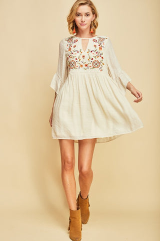 Embroidery babydoll dress
