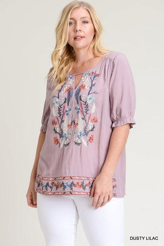 Lilac Embroidered Top