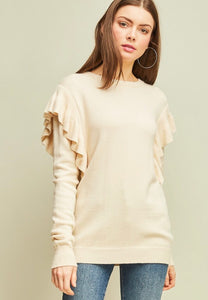 Pop of ruffle sweater