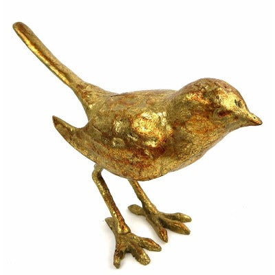 Large Solid Cast Iron Gold Bird