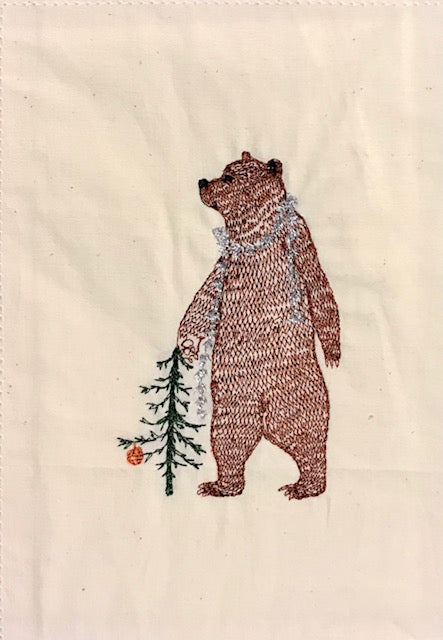 Bear with Tinsel Embroidered Card
