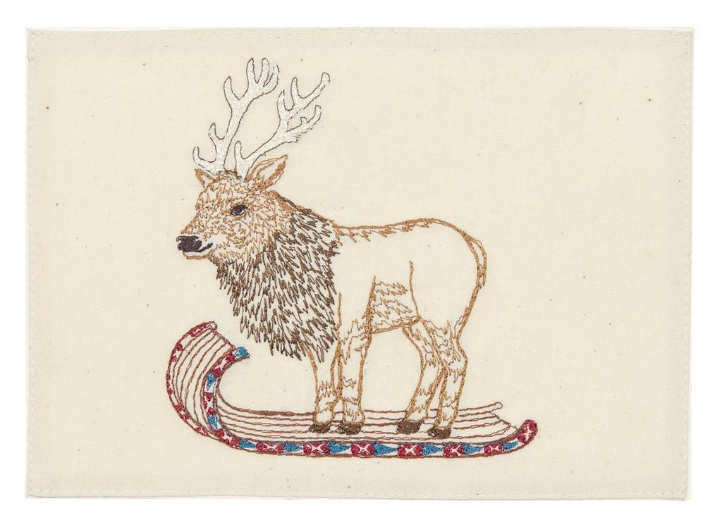 Elk On Toboggan Card