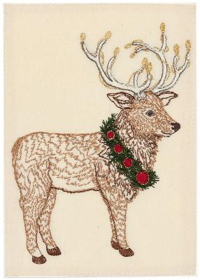 Elk With Christmas Wreath Card