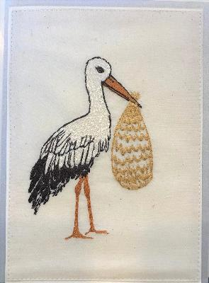 Embroidered Stork Card