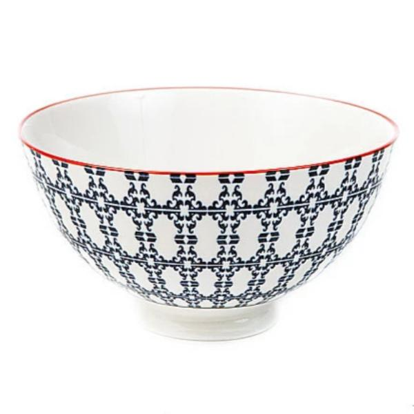 Blue & White Porcelain Bowl w/ Diamond Pattern