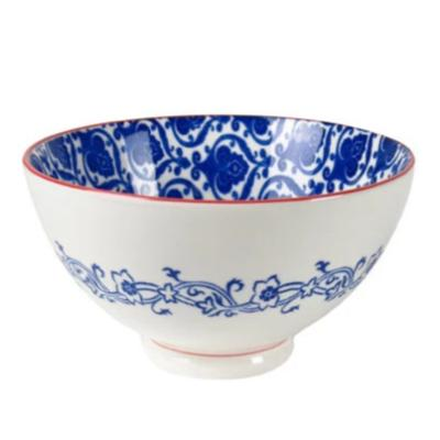 Blue & White Porcelain Bowl w/ Paisley Pattern