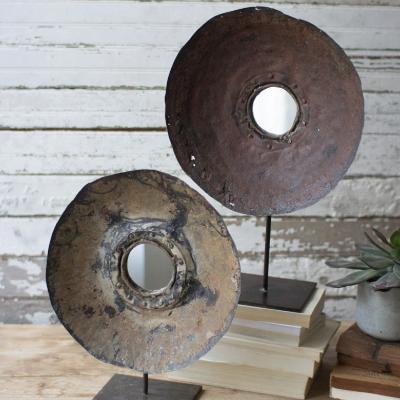 Recycled Metal Mirror on Stand