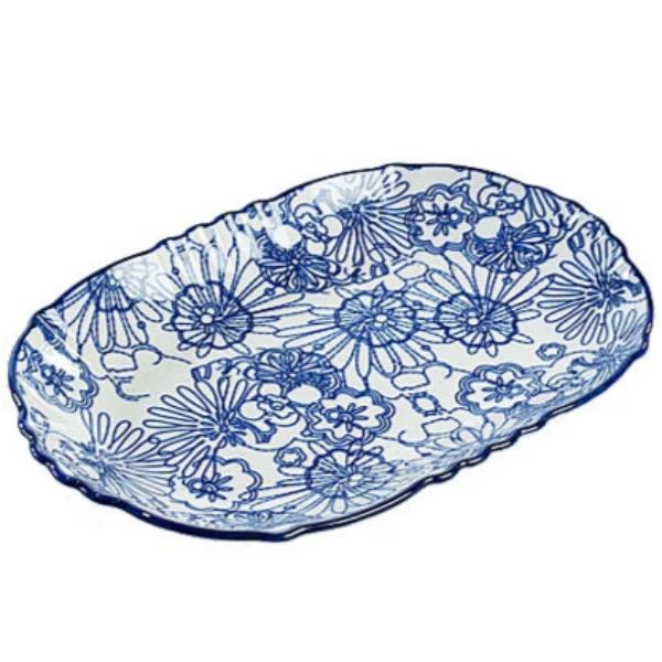 Blue & White Oval Plate II