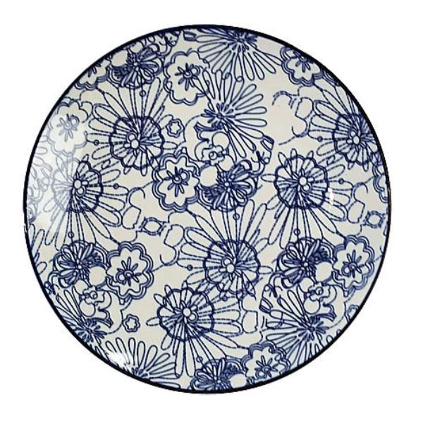 Blue & White Plate II - Floral Pattern