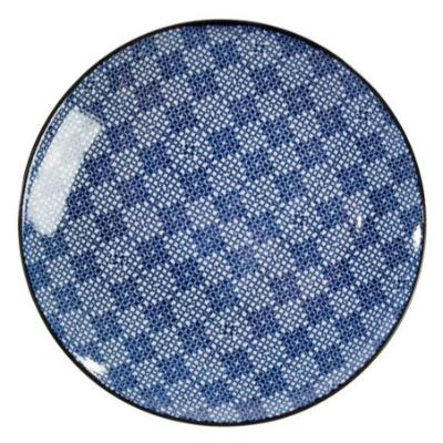 Blue & White Round Plate IV