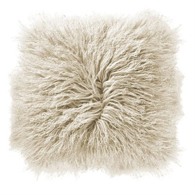 "Mongolian Lamb Fur 16"" Pillow-Cream"