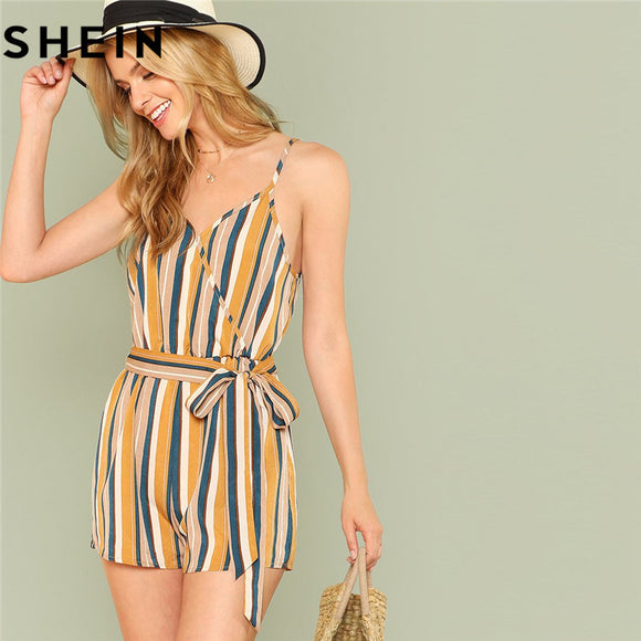 eacd7cab41 SHEIN Spaghetti Strap 2018 Summer Beach Boho Women Playsuits Mid Waist  Elastic Belted Striped Wrap Casual
