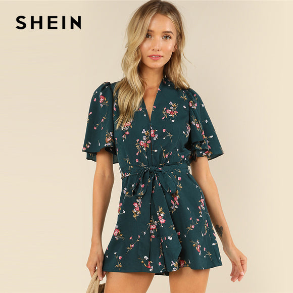 e55686d2a62 SHEIN Green Vacation Bohemian Beach Floral Print Plunge V Neck Flounce  Sleeve Belted Ditsy Romper Summer