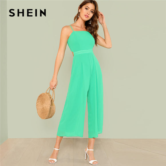 c2c9817adc SHEIN Green Weekend Casual Backless Knot Back Wide Leg High Waist Cami  Solid Jumpsuit Summer Women