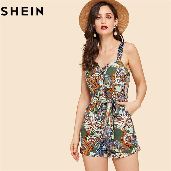 8313787374 SHEIN Tropical Print Vintage Mid Waist Skinny Sleeveless Women Rompers With  Button Summer New Boho Beach