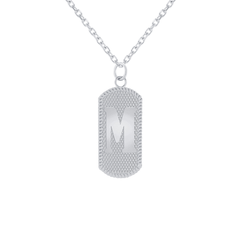 M initial Dog Tag Necklace