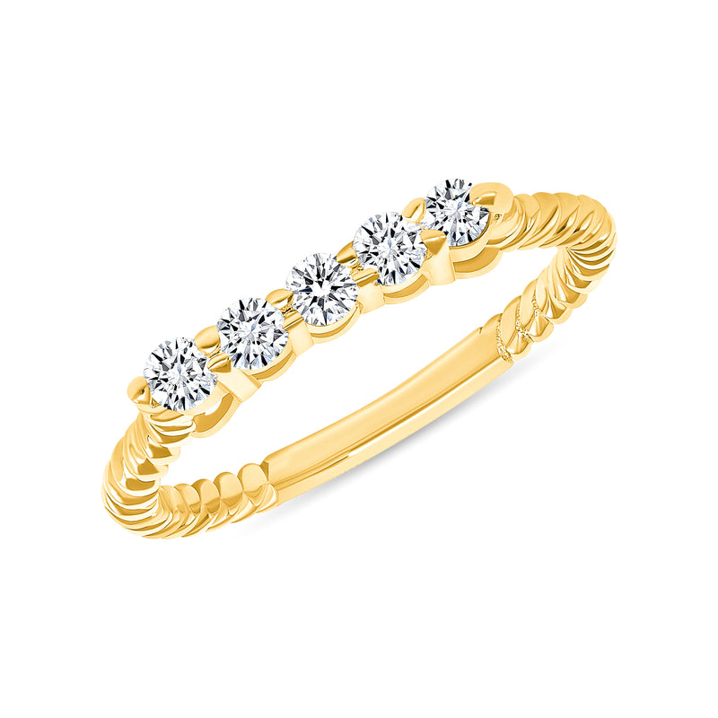 Dainty Diamond Rope Ring in Yellow Gold