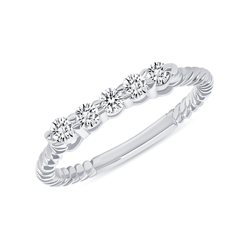 Dainty Diamond Rope Ring in White Gold