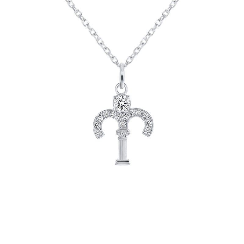 Aries Zodiac Cubic Zirconia Pendant/Necklace in Sterling Silver