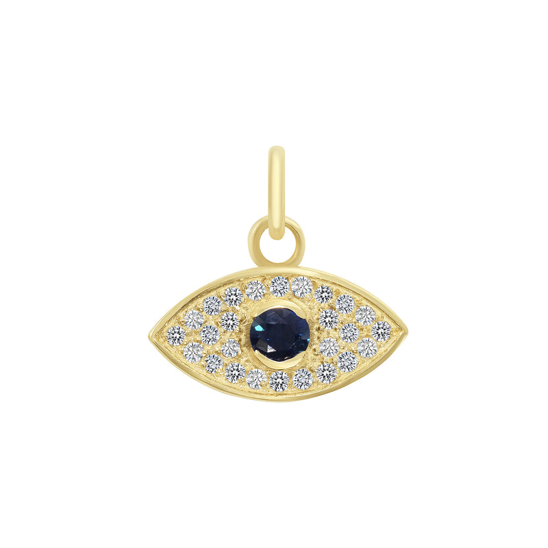 Diamond and Genuine Sapphire Evil Eye Pendant/Necklace In Solid Gold