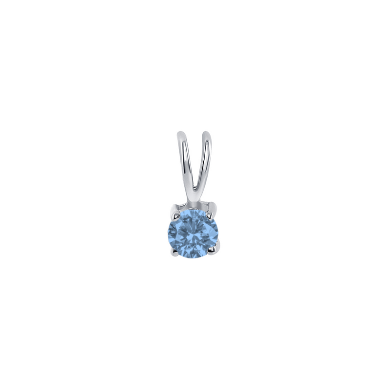 Dainty Blue Topaz Gemstone Rabbit Ear Pendant Necklace