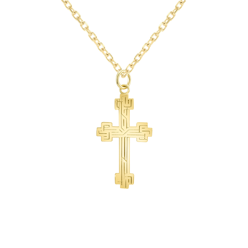 Etched Large Cross in Solid Gold