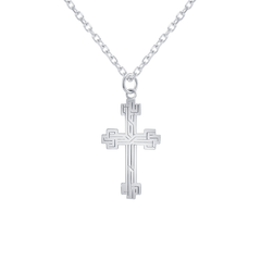 Etched Large Cross in Sterling Silver